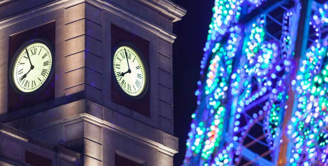 Reloj de la Puerta del Sol y árbol de Navidad 2016