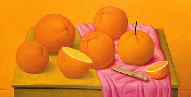 Still life with oranges - Fernando Botero