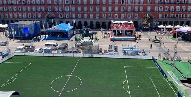 Fooball pitch on Plaza Mayor (UEFA Champions Festival Madrid 2019)