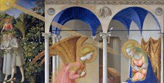 La Anunciación. Fra Angelico. 1425 - 1426. Oro y temple sobre tabla. 194cm x 194cm.